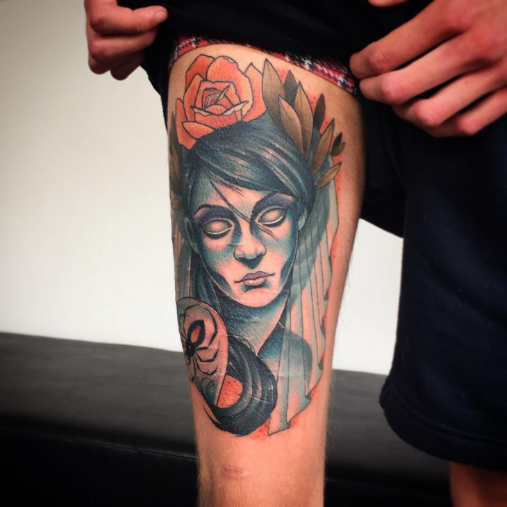 colorful zombie tattoo on thigh