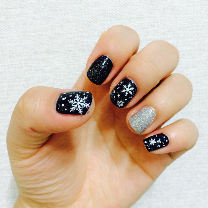 Silver and Black Nail Art