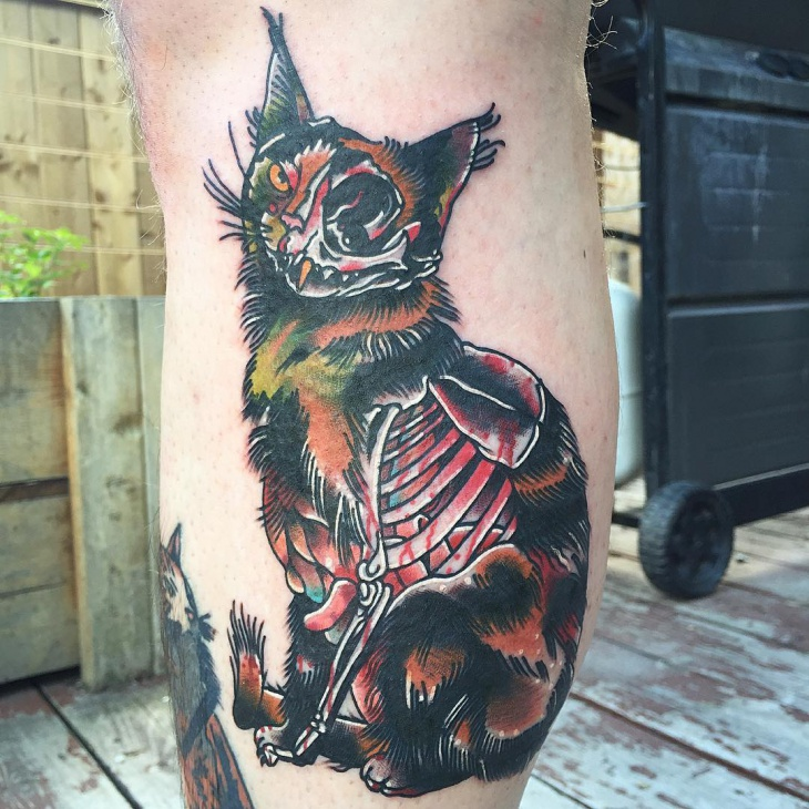 Traditional Zombie Cat Tattoo