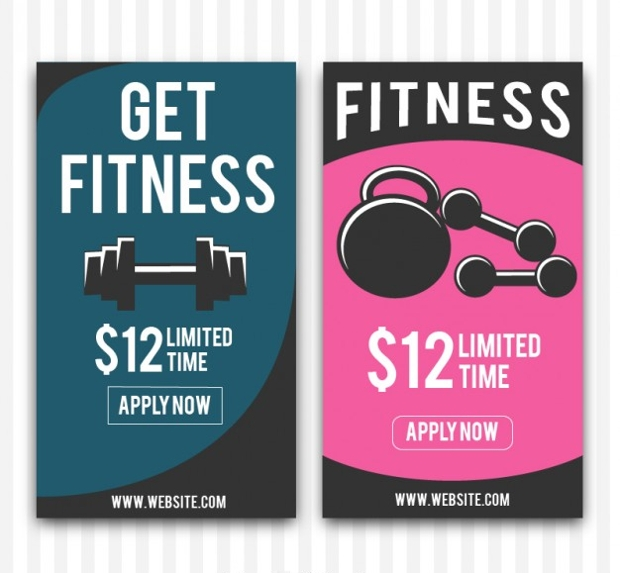 fitness banners with weights