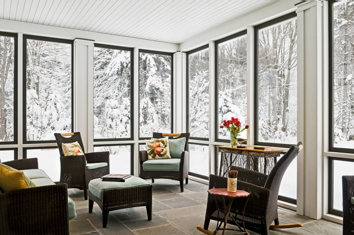 sun room in winter