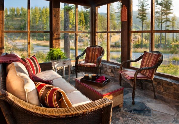 wood furnished sunroom