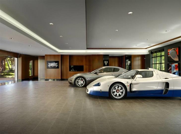 Concrete tiles garage floor