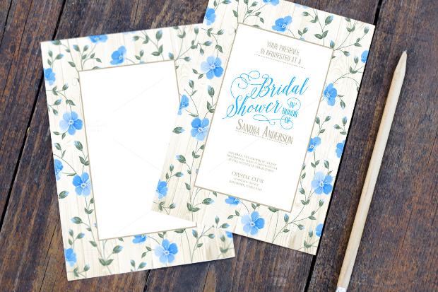 Blue Bridal Shower Invitation Template