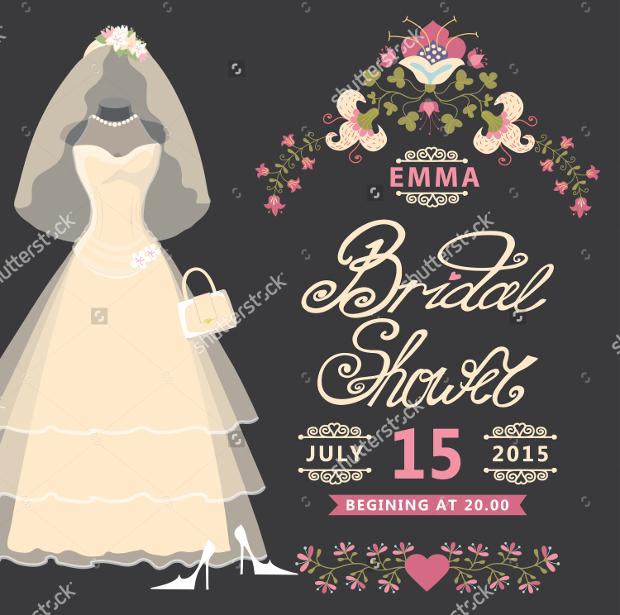 Vintage Bridal Shower Invitation Card