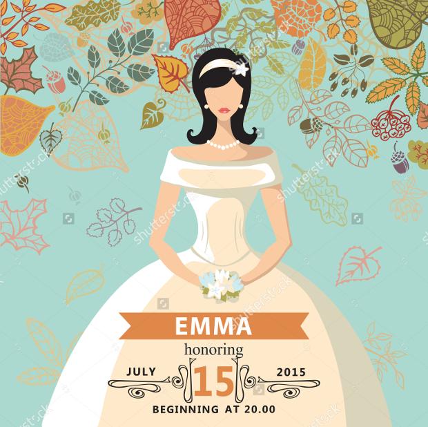 Falling Leaves Bridal shower invitation