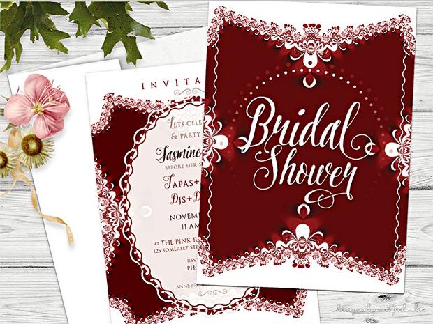 Red White Bridal Shower Invitation