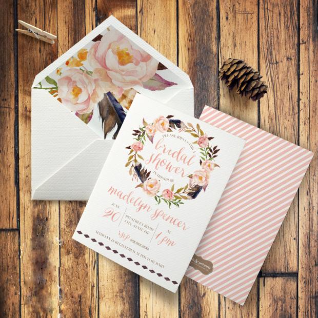 Boho Floral Watercolor Bridal Shower Invitation