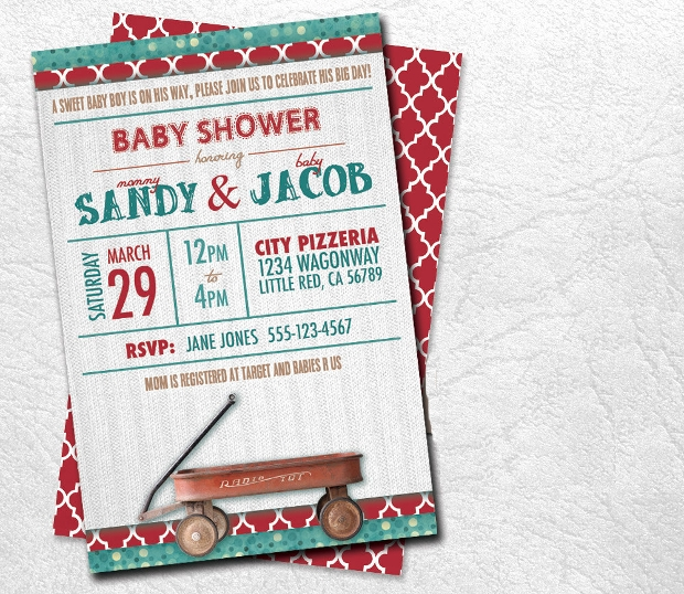 red wagon baby shower invitation
