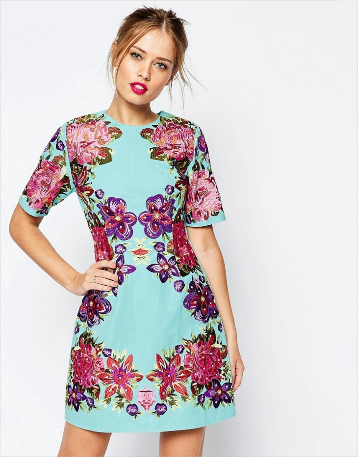 Embroidered Tiny Floral Shift Dress
