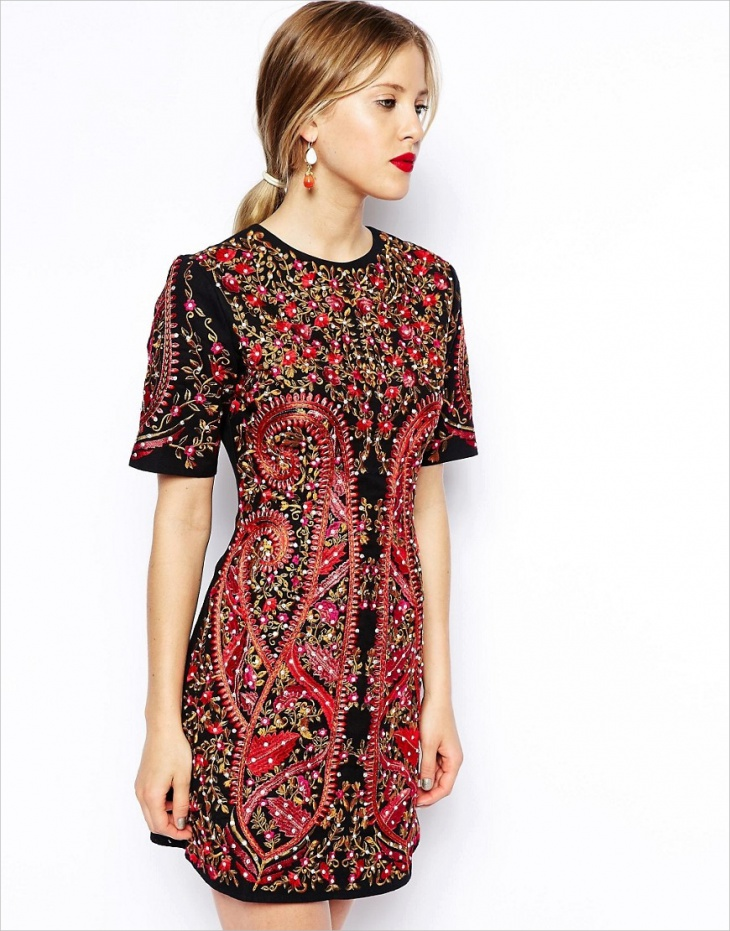 Red Embroided Shift Dress Idea
