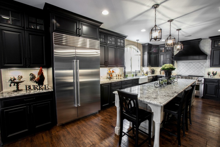 dramatic black and white kitchen