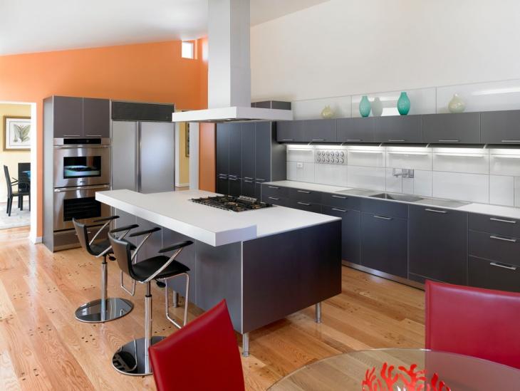 Trendy Black and white Kitchen