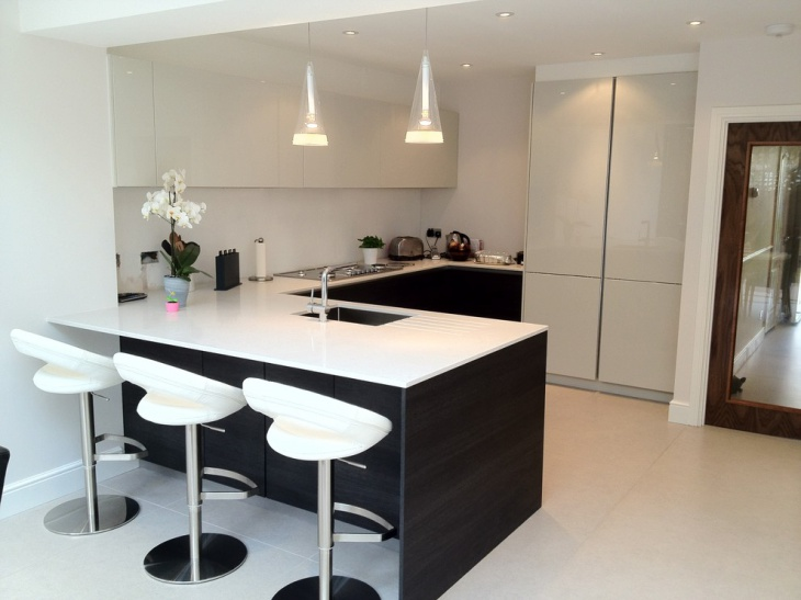 white kitchen with small floweer pot