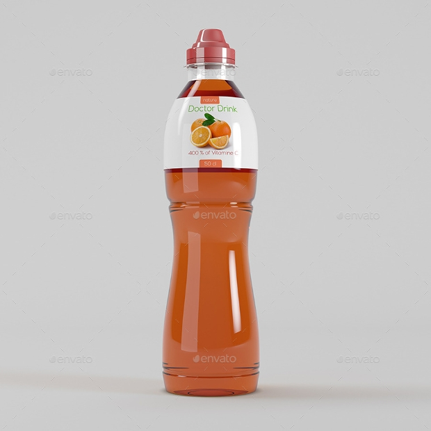 energy drink plastic bottle mockup