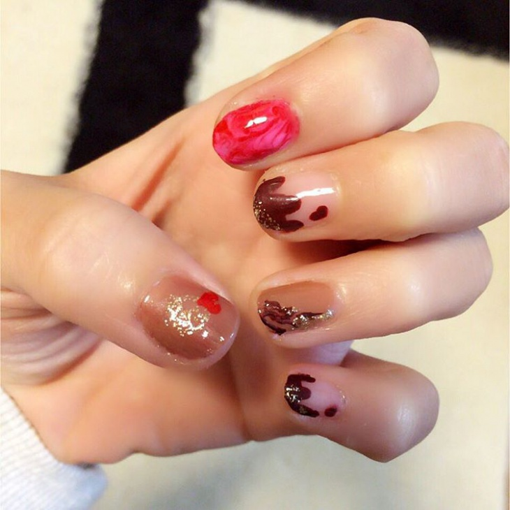 Pretty Chocolate Frosting Nails