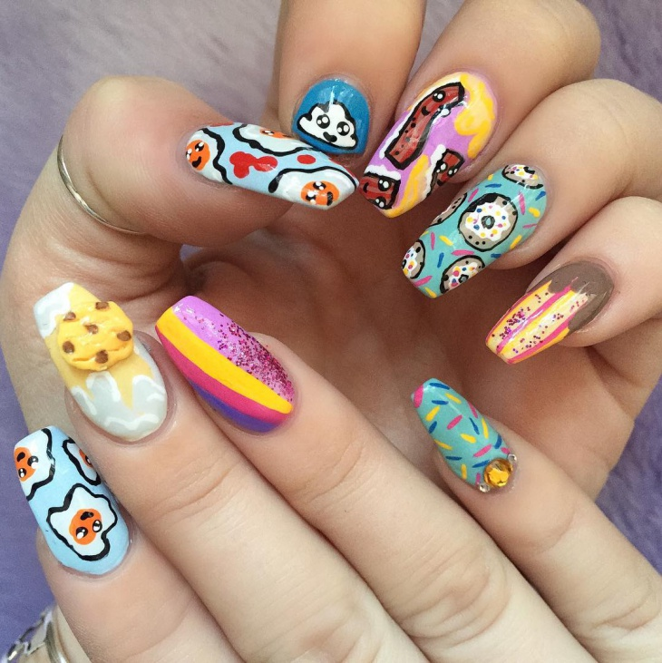 Colorful Long Nail Art