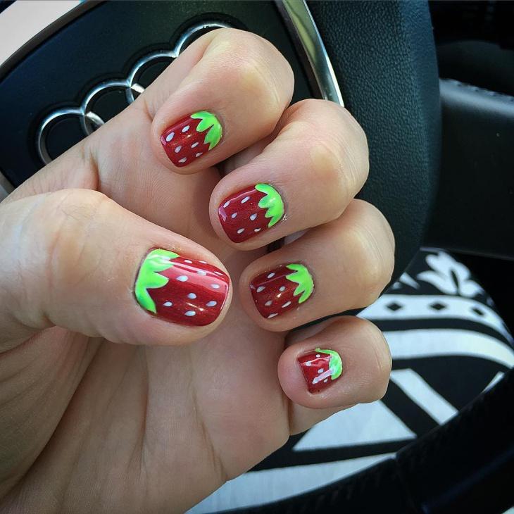 Strawberry Nail Art Idea