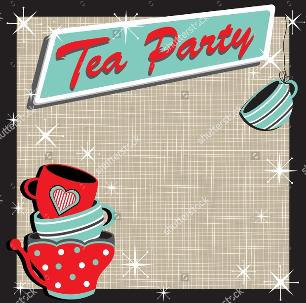 Retro Style Tea Party Invitation