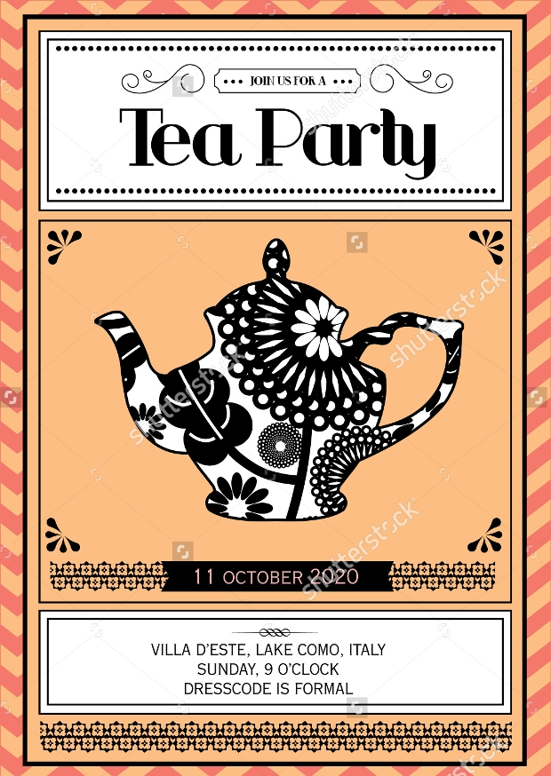Vintage Tea Party Invitation Template