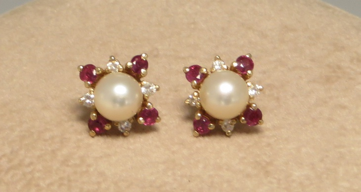Ruby and Pearl Stud Earrings