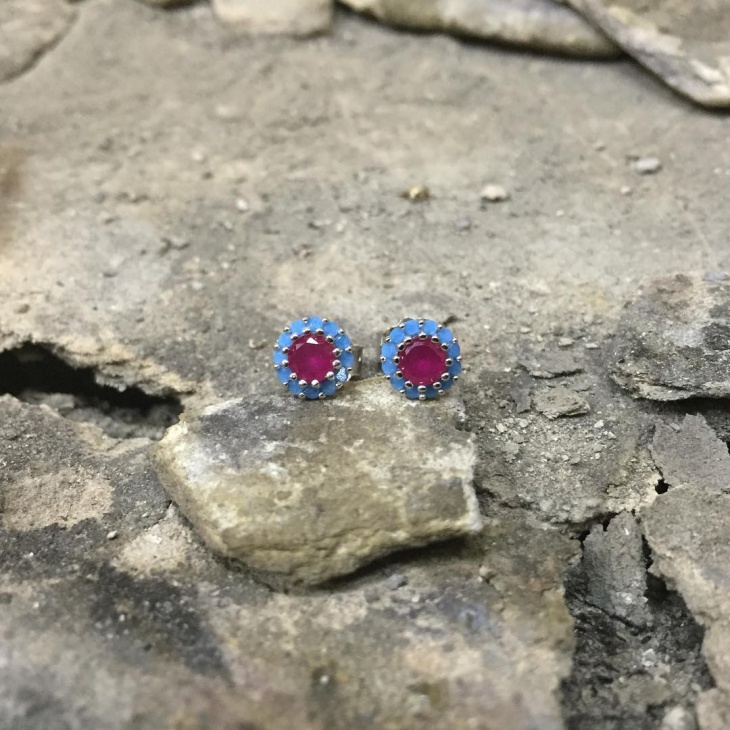 Pink Ruby Stud Earrings