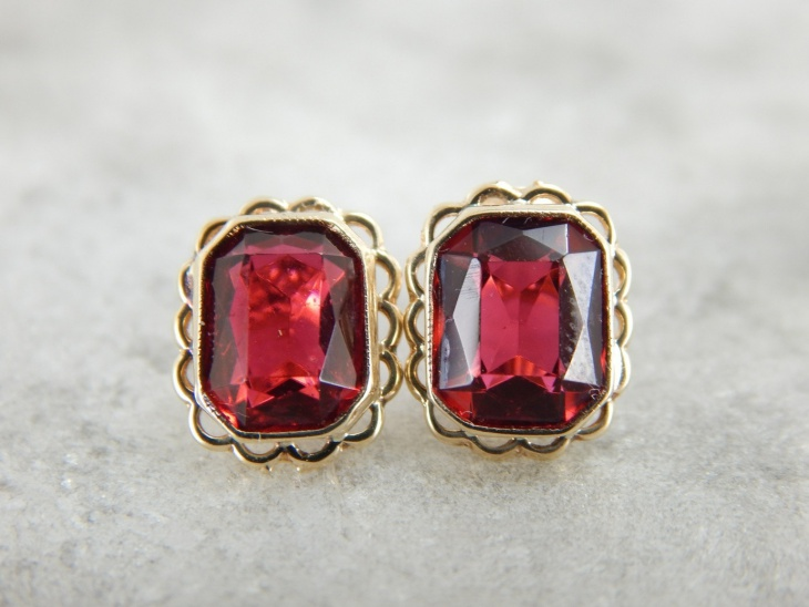 Vintage Ruby Stud Earrings