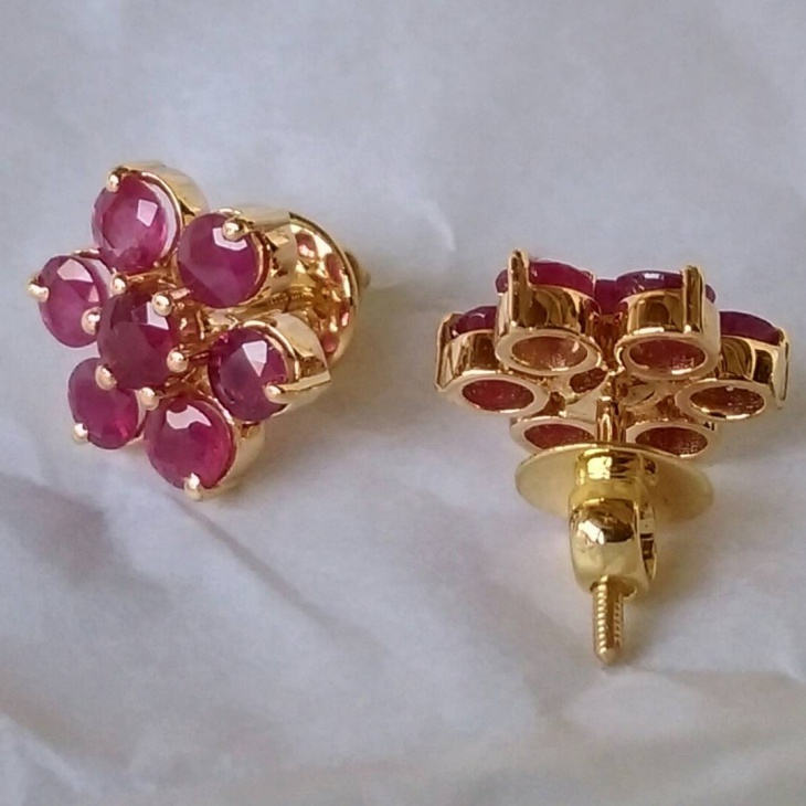 awesome pinkish red ruby studs