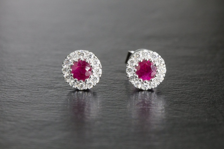 gorgeous ruby and diamond studs