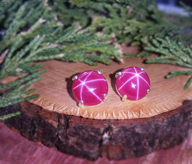 star shape ruby stud earrings