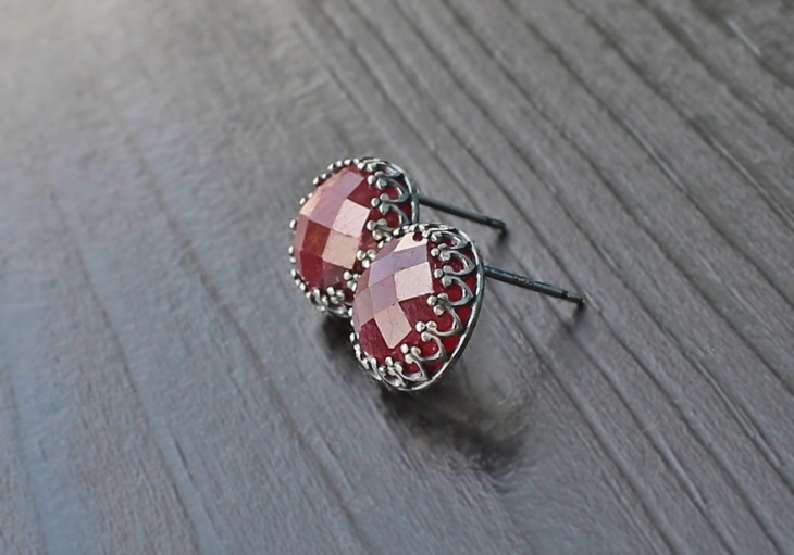 lovely raw ruby silver studs