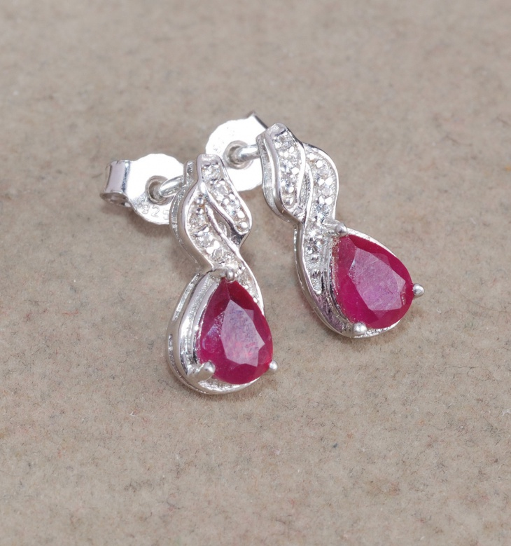 designer ruby stud earrings