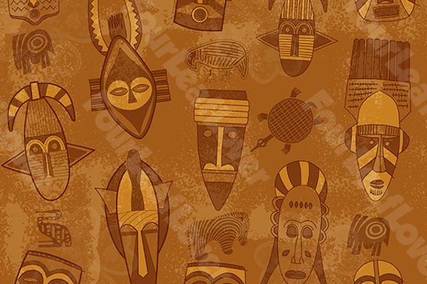 African Seamless Mask Pattern