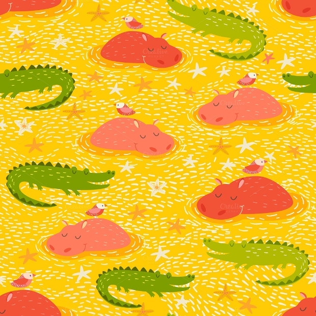 Cute African Animal Seamless Pattern