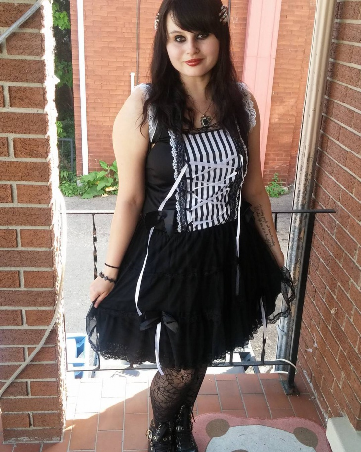 black and white gothic outfit