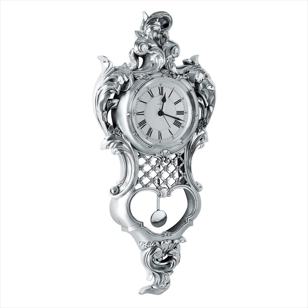 Silver Pendulum Wall Clock