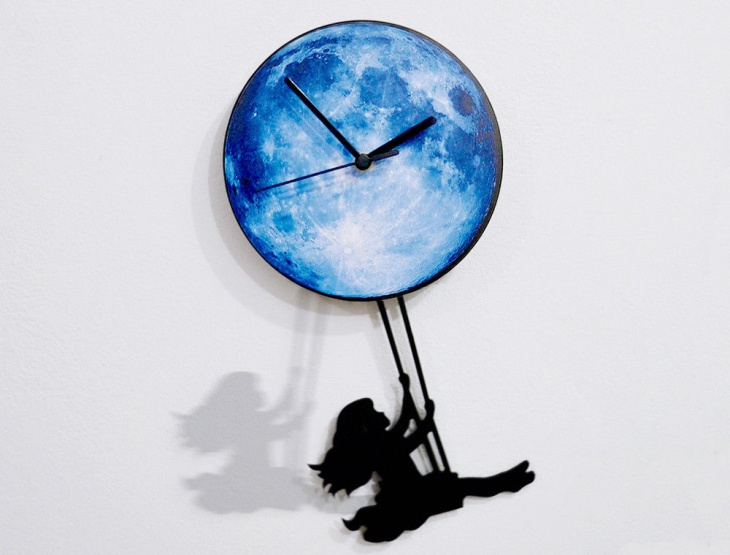 Girl Swinging Pendulum Wall Clock