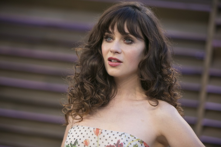 Zooey Deschanel Frizzy Wavy Haircut