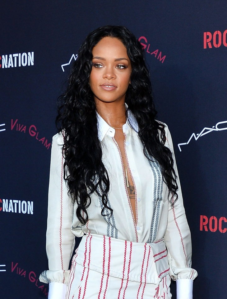 Rihanna Long Frizzy Hairstyle Idea