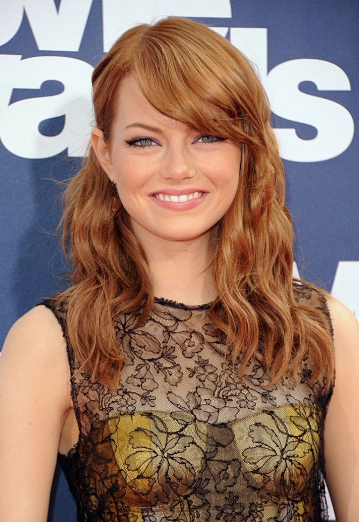 Emma Stone Frizzy Bangs Hairstyle Design
