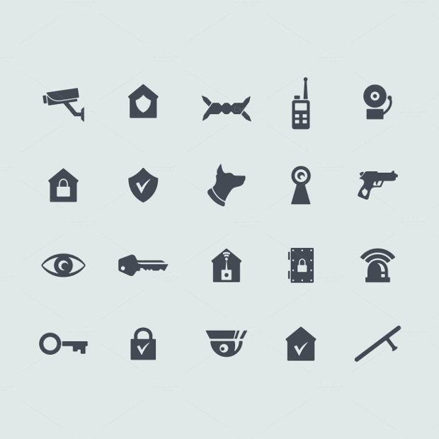 Fully Editable Security Icons
