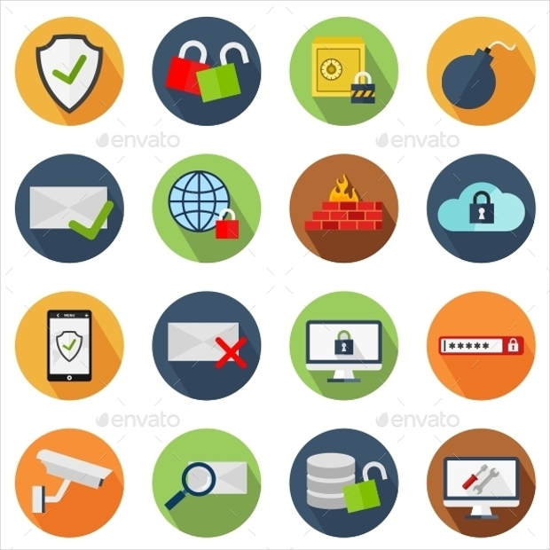 Flat Round Security Icons