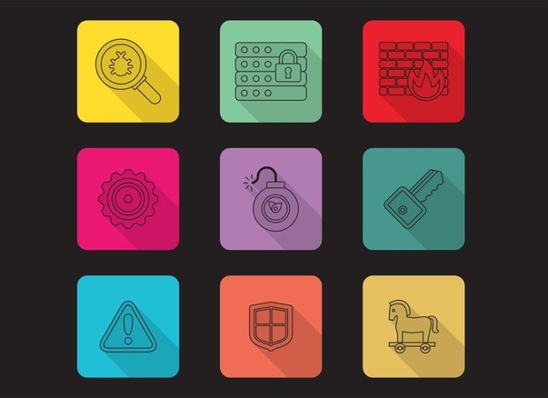 Linear Computer Security Vector Icons