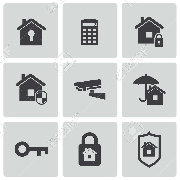 Black Home Security Icon Set