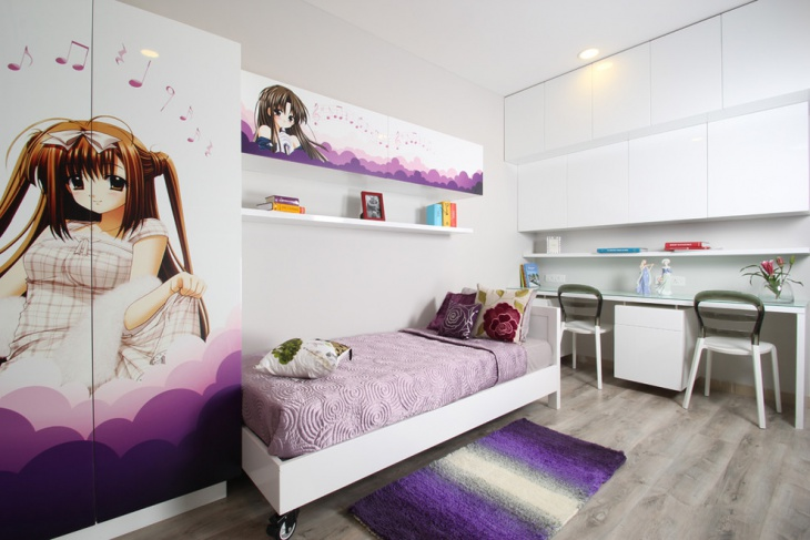 Girls Teen Bed with Interior Design
