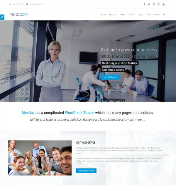 flat wordpresss theme for business corporates