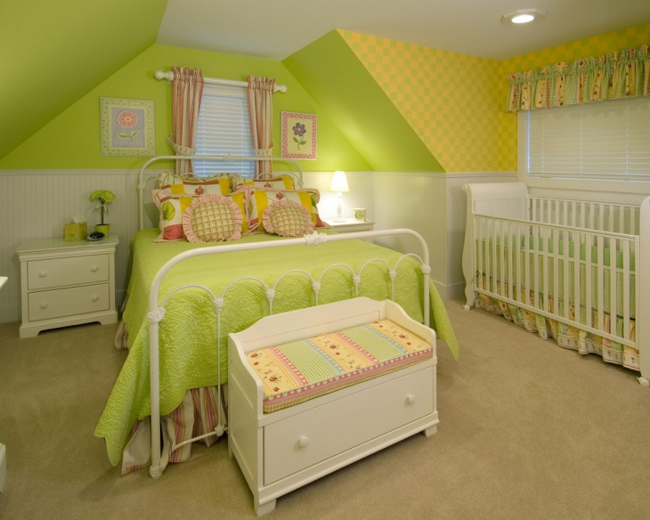 Green and Yellow Kids Bedroom