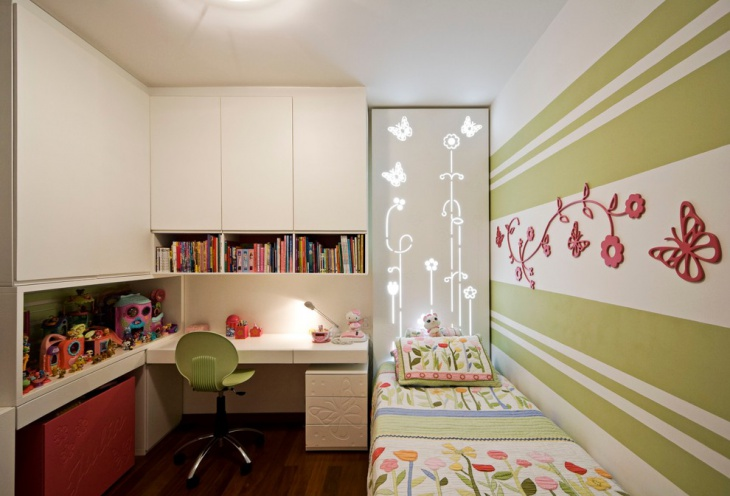 Green Striped Kids Bedroom