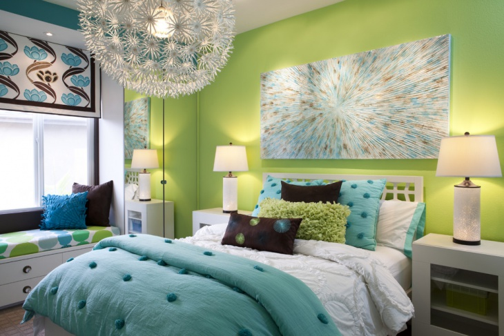Green kids bedroom with Chandelier