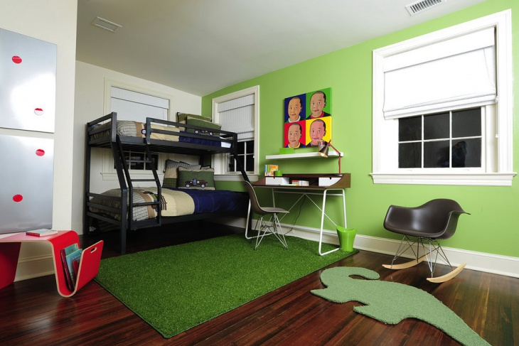 Green wall kids Bunk bed idea